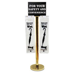 Tatco Wet Umbrella Bag Stand, 16w x 12d x 54-1/2h, Brass-Plated Metal