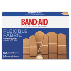 BAND-AID® Flexible Fabric Adhesive Bandages, Assorted, 100/Box