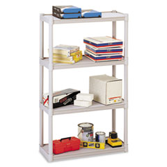 Iceberg Rough N Ready Four-Shelf Open Storage System, Resin, 32w x 13d x 54h, Platinum