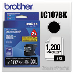 Brother LC107BK Innobella Super High-Yield Ink, 1200 Page-Yield, Black