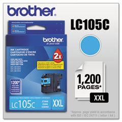 Brother LC105C Innobella Super High-Yield Ink, 1200 Page-Yield, Cyan