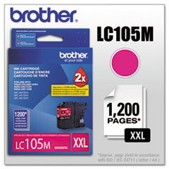 Brother LC105M Innobella Super High-Yield Ink, 1200 Page-Yield, Magenta
