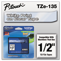 "TZe Standard Adhesive Laminated Labeling Tape, 0.47"" x 26.2 ft, White on Clear"
