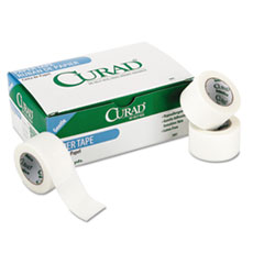 """Paper Adhesive Tape, 1"""" Core, 1"""" x 10 yds, White, 12/Pack"""