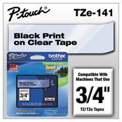 """TZe Standard Adhesive Laminated Labeling Tape, 0.7"""" x 26.2 ft, Black on Clear"""