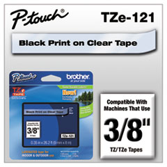 "TZe Standard Adhesive Laminated Labeling Tape, 0.35"" x 26.2 ft, Black on Clear"
