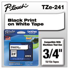 "TZe Standard Adhesive Laminated Labeling Tape, 0.7"" x 26.2 ft, Black on White"