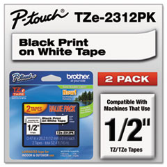 "TZe Standard Adhesive Laminated Labeling Tapes, 0.47"" x 26.2 ft, Black on White, 2/Pack"