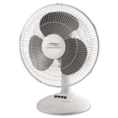 Lakewood 12-Inch Three-Speed Oscillating Desk Fan, Metal/Plastic, White