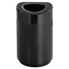 Safco® Open Top Round Waste Receptacle, Steel, 30 gal, Black
