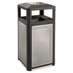 Safco® Ashtray-Top Evos Series Steel Waste Container, 38 gal, Black