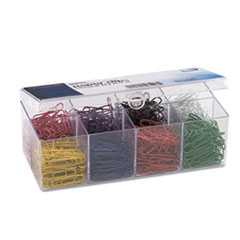 Officemate PVC Free Plastic Coated Paper Clips, Small (No. 2), Assorted Colors, 800/Pack