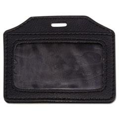 Advantus Leather-Look Badge Holder, 2 1/2 x 3 1/2, Horizontal, Black, 5/PK