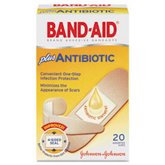 BAND-AID® Antibiotic Adhesive Bandages, Assorted Sizes, 20/Box