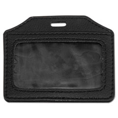 Advantus Leather-Look Badge Holder, 3 1/2 x 2 1/2, Horizontal, Black, 5/Pack