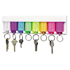 SteelMaster® Multi-Color Key Rack, 8-Key, 2 3/4 x 1/2 x 10 1/2, Plastic, White