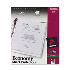 Avery® Top-Load Sheet Protector, Economy Gauge, Letter, Semi-Clear, 100/Box