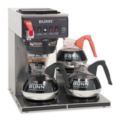 BUNN® CWTF-3 Three Burner Automatic Coffee Brewer, Stainless Steel, Black