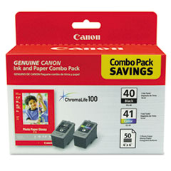 Canon® 0615B009 Ink Cartridge and Glossy Photo Paper Combo Pack Thumbnail