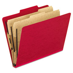 Six-Section Colored Classification Folders, Letter, 2/5 Tab, Scarlet, 10/Box
