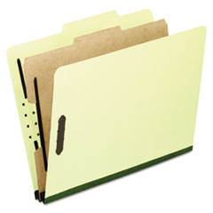 Four-Section Pressboard Folders, Letter, 2/5 Tab, Light Green, 10/Box