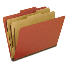 Six-Section Pressboard Folders, Letter, 2/5 Tab, Red, 10/Box