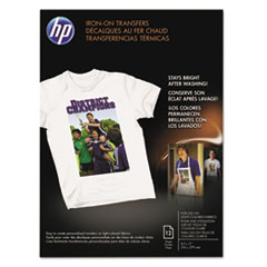HP Iron-On Transfers, 8-1/2 x 11, White, 12/Pack