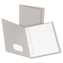 "Oxford™ Twin-Pocket Folders with 3 Fasteners, Letter, 1/2"" Capacity, Gray, 25/Box"
