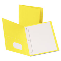 "Oxford™ Twin-Pocket Folders with 3 Fasteners, Letter, 1/2"" Capacity, Yellow, 25/Box"