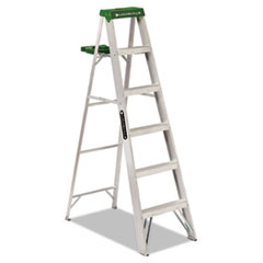 Louisville® Aluminum Step Ladder, 6 ft Working Height, 225 lbs Capacity, 5 Step, Aluminum/Green