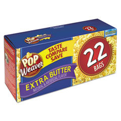 Pop Weaver Microwave Popcorn, Extra Butter, 2.5 oz Bag, 22/Box