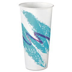 Dart® Eco-Forward Treated Paper Cold Cups, 22oz, Jazz Design, 50/Pack, 20 Packs/Carton