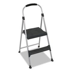 "Cosco® Aluminum Step Stool, 2-Step, 225 lb Capacity, 18.9"" Working Height, Platinum/Black"