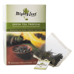 Mighty Leaf® Tea Whole Leaf Tea Pouches, Green Tea Tropical, 15/Box MYT40002
