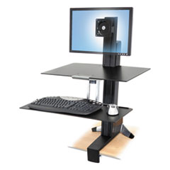 Ergotron® WorkFit-S Sit-Stand Workstation w/Worksurface, LCD LD Monitor, Aluminum/Black