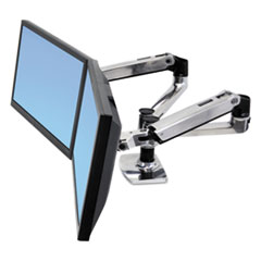 Ergotron® LX Dual Side-by-Side Arm for WorkFit-D Sit-Stand Desk, 21.4w x 25.6d x 20.9h