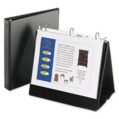 "Easel Presentation Durable Binder with Round Rings, 3 Rings, 1"" Capacity, 11 x 8.5, Black"
