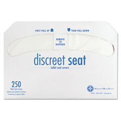 HOSPECO® Discreet Seat Half-Fold Toilet Seat Covers, White, 250/Pack, 20 Packs/Carton
