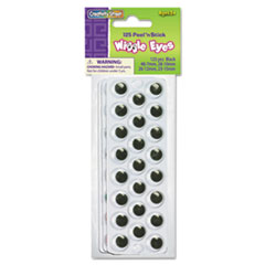 Peel N Stick Wiggle Eyes, Assorted Sizes, Black, 125/Pack