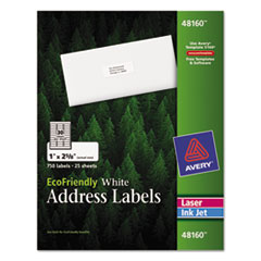 EcoFriendly Mailing Labels, Inkjet/Laser Printers, 1 x 2.63, White, 30/Sheet, 25 Sheets/Pack