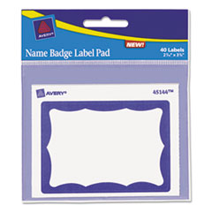 Avery® Name Badge Label Pad, 3 x 4 Pad, 2-7/16 x 3-3/8 Labels, Blue/White, 40 Labels/Pk