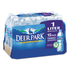 Deer Park® Natural Spring Water, 1 Liter Bottle, 15 Bottles/Carton