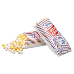 Bagcraft Pinch-Bottom Paper Popcorn Bag, 4 x 1.5 x 8, Blue/Red/White, 1,000/Carton