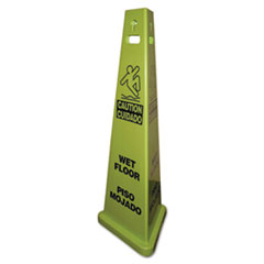 Impact® TriVu 3-Sided Wet Floor Safety Sign, Yellow/Green, 14.75 x 4.75 x 40, Plastic, 3/Carton