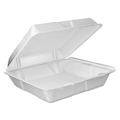 Foam Vented Hinged Lid Containers, 9w X 9 2/5d X 3h,