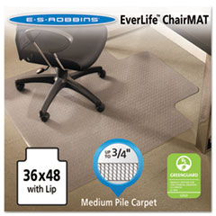 EverLife Chair Mats For Medium Pile Carpet With Lip, 36 x 48, Clear