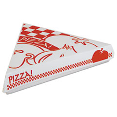 "Lock-Corner Pizza Boxes, Cardboard, For 8"" Slices, White/Red, 400/Carton"