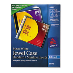 Inkjet CD/DVD Jewel Case Inserts, Matte White, 20/Pack