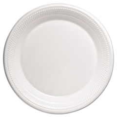 "Dart® Center Piece Laminated Foam Dinnerware, Plate, 10 1/4"", White, 125/BG, 4 BG/CT"