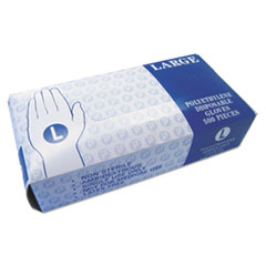 Embossed Polyethylene Disposable Gloves, Large, Powder-Free, Clear, 500/Box, 4 Boxes/Carton